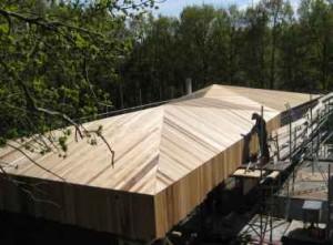 8 Dak, gevels, en odnerzijde van de overstekken van de verdieping zijn bekleed met FSC-hout Louro Preto