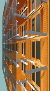 5 De bovenbouw bestaat uit een houten doos met daar omheen een glazen huis