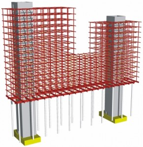9 Constructieprincipe: staalconstructie rond twee betonnen kernen, bestaande kolommen worden gebruikt