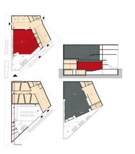 9 Plattegronden kelder, begane grond en tweede verdieping 1:1000 plus doorsnede 1:2000