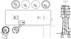 10 Plattegronden niveau 1 paviljoen, begane grond, eerste verdieping en opbouw niveau 1 t/m 4 watertoren plus doorsnede 1:500
