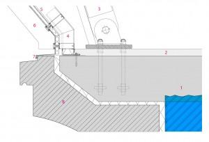 9 Aansluiting staalconstructie bovenbouw op bestaande onderbouw 1:40