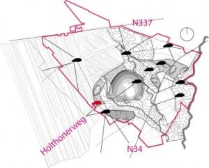 9 Situatie met posities van de nieuwe woningen en zichtlijnen, in rood de pilotwoning
