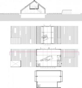 10 Plattegronden kelder, begane grond en verdieping plus doorsnede 1:400