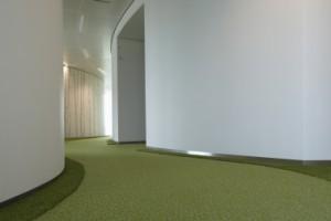 7 De vergaderzalen hebben akoestische beplating aan de buitenzijde, voorzien van een geabstraheerd berkenpatroon