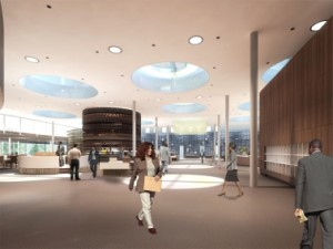 2 Onder enorme lichtkoepels met een doorsnede van 4,5 meter verlichten in de Plaza diverse functies als restaurant, vergaderpaviljoens en espressobar