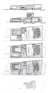 19 Plattegronden kelder, begane grond, 1e en 2e verdieping plus doorsneden 1:1000