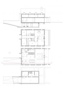 9 Plattegronden kelder, begane grond en verdieping plus doorsnede 1:200