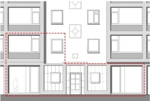 8 Het project omvat twee bedrijfsruimtes op de begane grond en een portiekwoning op de verdieping