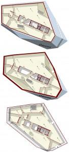 Plattegronden begane grond, eerste en tweede verdieping 1:500