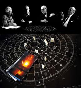 Frank Lloyd Wright, Rem Koolhaas, Le Corbusier en Ludwig Mies van der Rohe sieren de deksel van het spel