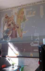 De huiskapel van de katholieke familie Jongerius. Wandschilderingen zijn nog in restauratie.