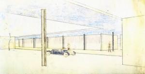 Perspectieftekening Mies van der Rohe, foto Museum of Modern Art, New York
