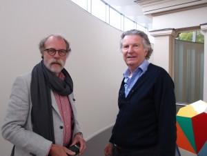 Ronald van den Berg (l), voorzitter Vrienden van de Binnenstad, een van de pleitbezorgers van de uitbreiding van de Fundatie door Hubert-Jan Henket.(r) Dankzij het mobiliseren van vele partijen in Zwolle kon het museum zo snel worden uitgebreid.