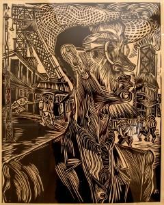 Houtsnede van Conrad Felixmuller in de openingsexpositie Dansen op de vulkaan over kunst en leven het interbellum in de Weimarer Republik
