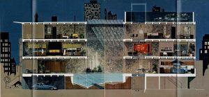 """Mies van der Rohe's McCormick House als woning voor een vrijgezelle man uit: """"Designs for Living, 1961 issue, op de tentoonstelling Playboy Architecture  1953-1979"""""""