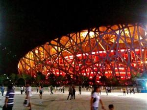 Het olympisch stadion in Beijing, ook wel het vogelnest genoemd.