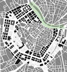 Morfologie Wenen met Ringstrasse en interventie gebied Frans Josef Kai (groen)