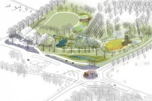 LOLA landscape architects,Natura Docet Wonderrijk, overview tuin met verschillende landschappen