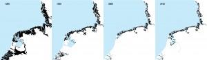 IJsselDelta - Martijn Al en LAMA - invloed getijden in 1000, 1500, 2000 en na opening Afsluitdijk, in 2100