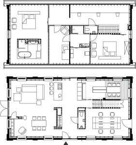 Plattegronden 1:300 van begane grond en verdieping.