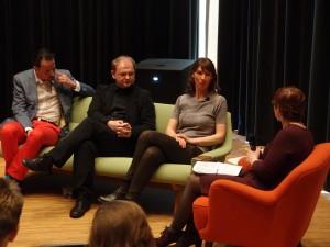 architecten Marc Reniers (M3H) Jo-Janssen en Gus Tielens in discussie o.l.v. Tracy Metz tijdens presentatie Jaarboek-16-april-2014