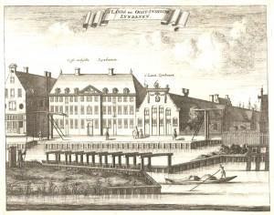 Oostenburgergracht in 1693 met de lijnbanen van de VOC en admiraliteitshuis
