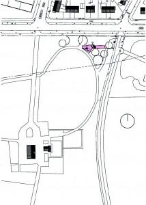 Op de hoek van de Grootstalselaan (horizontale weg) en de St Jaconsweg (verticaal) staat de nieuwe landgoedwinkel (kleur); in zwart het bestaande landhuis met bijgebouw