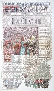 Myriam Dion, Le Devoir 2013, handcut newsprint, 4-5 May 2013, 54x33cm