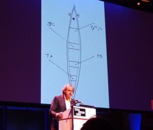 Thijs Asselbergs met het bootje met de 5 architecten