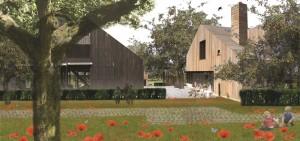 Schuren, schapen en appelbomen. Plan voor een dorps uitbreidingswijkje met 45 woningen in Schipluiden, met wonen op het voorerf en werken op het achtererf. Foto: De Stuurlui