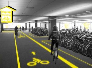 Pop-up Parking voor de fiets in een leegstaand kantoor. Nominatie '25 jaar U-stal' i.s.m. Sander Dekker. Foto: De Stuurlui