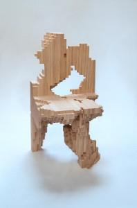 Het digitale ontwerp van de Computational Chair van ontwerpstudio EZCT kwam tot stand met gebruik van algoritmes, waarmee een archetypische vierkante eetstoel steeds verder geabstraheerd is, totdat een vorm ontstaat die esthetische kwaliteit, materiaalreductie en constructieve draagkracht optimaal combineert.