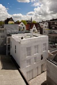 De sluier loopt boven de gevel door en vormt de balustrade voor het dakterras. Foto: Hans Peter Föllmi