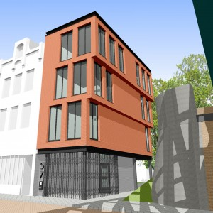 3D-impressie van de invulling op deze plek. Een opgetilde drielaagse stadsvilla met dubbel grondgebruik. Ontwerp Kühne & Co.