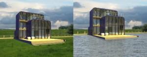 Deze amfibische woning is ontwikkeld in samenwerking met het consortium composieten in de bouw. De woning kan worden ingezet in retentiegebieden of in gebieden met een hoog overstromingsrisico. De woning is zeer licht en is daarmee ook zeer geschikt voor het bouwen op lastig te funderen veengronden. Beeld: Defacto
