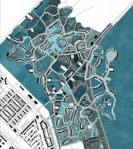 Binnen het H2O plangebied in Zeewolde zijn totaal 2200 woningen gepland. Het watersysteem van het gebied bestaat uit drie verschillende delen: Het buitendijkse randmeer, de binnendijkse plassen en het Noordwestelijk gelegen retentiegebied. Het plan omvat verschillende watergerelateerde woongebieden met ieder hun eigen waterdiepte, oevergradiënt, beplanting en daarmee sfeer en karakter. Zowel buiten als binnendijks kan zo iedere bewoner zijn of haar eigen plek vinden: van een luxe appartement aan het water tot een zelfbouwwoning in het water. Beeld: Defacto