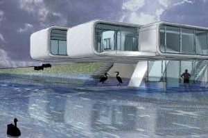 Het S-house ligt in de uiterwaarden bij Deventer en speelt in op de gunstige relatie tussen de seizoenen en de ruimtevraag van de rivier. In de zomer maakt het huis gebruikt van de riante buitenruimte die er ontstaat doordat de rivier minder capaciteit heeft. Beeld: Defacto
