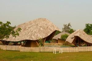Als een veld vol lome schildpadden, zo ogen de schoolpaviljoens met overhangende glooiende daken tegen het vocht en de hitte.