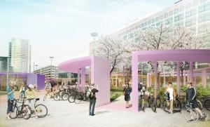 Een studie naar de herinrichting van het nieuwe plein voor NS-Station Sloterdijk resulteert in de oplossing van het fietsenprobleem rond het station en voegt groen toe aan het stedelijk programma in deze buurt. Op het plein wordt parkeerplek voor 1500 fietsen gerealiseerd in cirkels van diverse omvang. Deze 'parkeerrotondes' creëren nieuwe intieme openbare ruimtes in het grote plein die verschillende functies kunnen hebben.