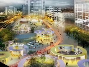Deze 'parkeerrotondes' creëren nieuwe intieme openbare ruimtes in het grote plein die verschillende functies kunnen hebben; mini-parken, sportfaciliteiten, een podium, een panoramaplatform en horeca. Hiermee wordt het vluchtige karakter gewijzigd in een plek voor ontspanning en ontmoeting. Daarnaast voorziet de herinrichting van het plein ook in de toevoeging van een nieuwe tragere verkeerstroom van fietsers naast de al aanwezige trein-, bus- en tramdienst.