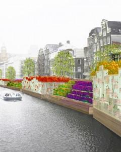 Het dak van een nieuwe winkel op de Bloemenmarkt in Amsterdam is ontworpen als een bloembed, gevuld met bloemen en groenten die wisselen per seizoen. De transparante glasgevel herstelt de visuele relatie tussen de markt en de singel. Het ideaal is als dit concept wordt toegepast op de gehele Bloemenmarkt.