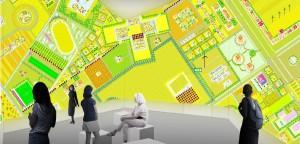 De video-installatie Freeland, waarin MVRDV de vraag stelt of een klassieke, centraal gestuurde ruimtelijke planning nog nodig is, of dat er in plaats daarvan ruimte moet zijn voor een organisch groeiende stad.