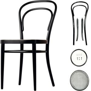 De beroemde stoel nr. 14 (Caféstoel) van Thonet.