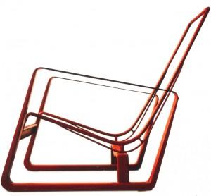 Het constructieve skelet van een fauteuil van Jean Prouvé uit 1930 die opnieuw in de handel is gebracht.