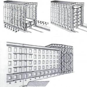 Ernest Neufert ontwierp in 1943 de Hausbaumaschine: een fabriek op rails die een betonnen woonblok van elke gewenste lengte kan bouwen.