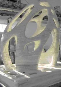 Enrico Dini heeft een bouwwerk van 4 meter hoog geprint van een hoogwaardig gips.