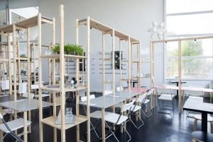 De ontwerpers van Oatmeal Studio hackte IKEA meubels om het pop-up IkHa restaurant in te richten in het Filmhuis in Den Haag.
