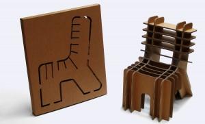Bij de FIY Chair (finish it yourself) van ontwerper David Graas is de doos onderdeel van het bouwpakket.