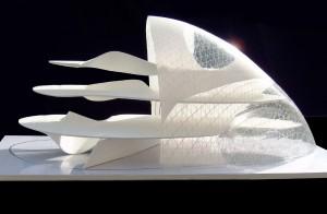 Archisign maakte deze presentatiemaquette van de Blob in Eindhoven, ontwerp architect Massimiliano Fuksas.